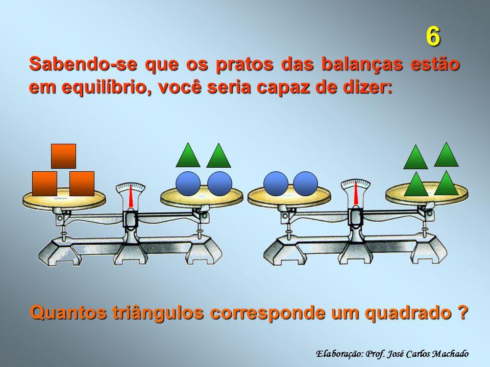 6 Sabendo-se que os pratos das balanças estão em equilíbrio, você seria capaz de dizer: Quantos triângulos corresponde um quadrado