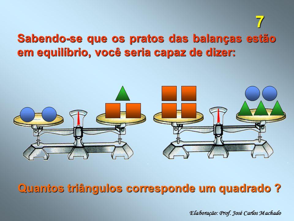 7 Sabendo-se que os pratos das balanças estão em equilíbrio, você seria capaz de dizer: Quantos triângulos corresponde um quadrado