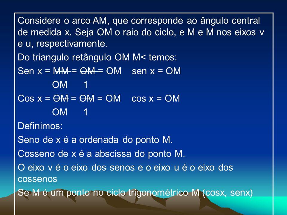 Considere o arco AM, que corresponde ao ângulo central de medida x