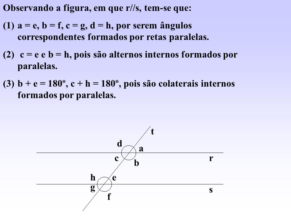 Observando a figura, em que r//s, tem-se que: