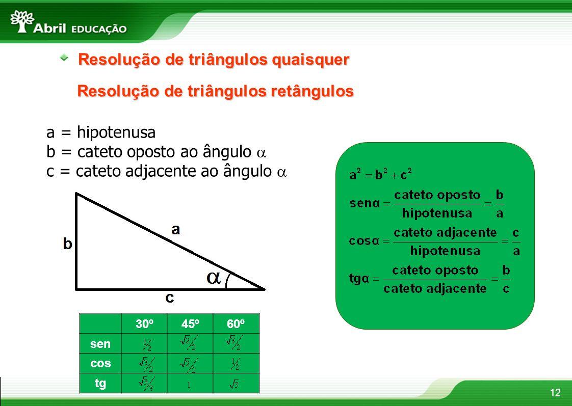 Resolução de triângulos quaisquer