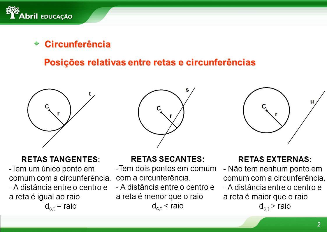 Posições relativas entre retas e circunferências