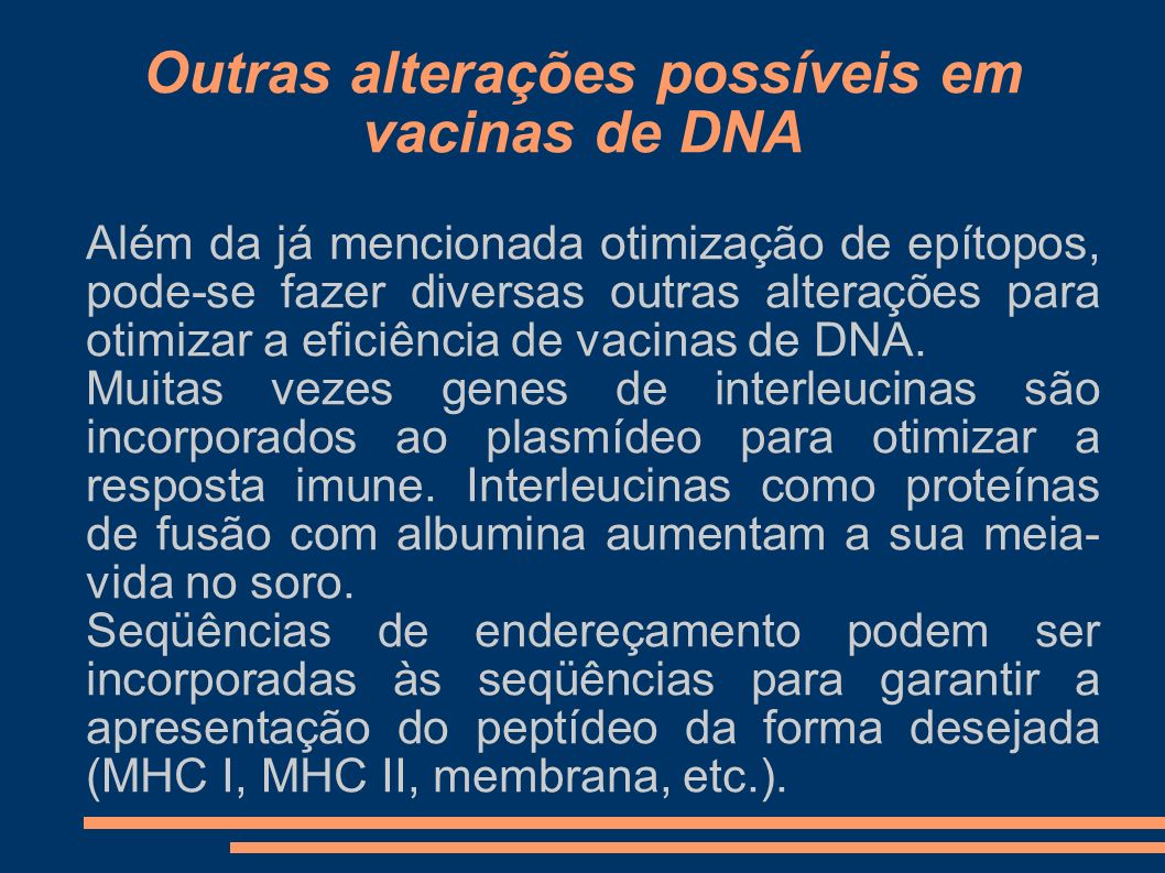Outras alterações possíveis em vacinas de DNA
