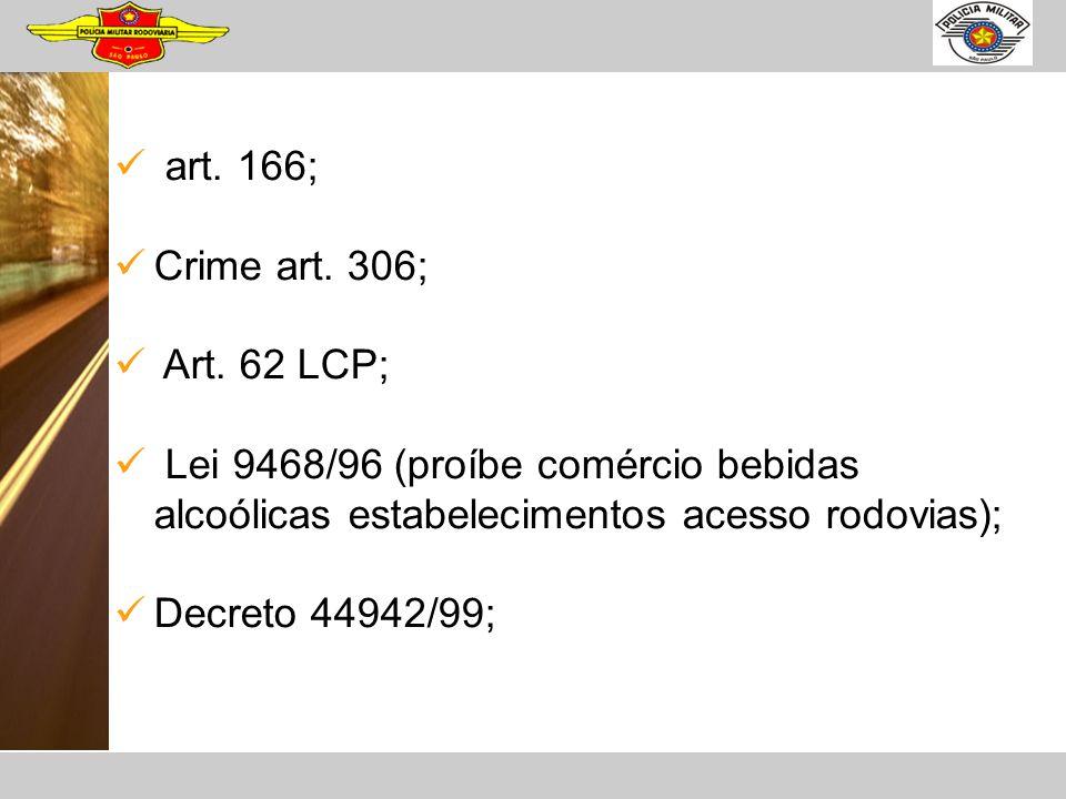 art. 166; Crime art. 306; Art. 62 LCP; Lei 9468/96 (proíbe comércio bebidas alcoólicas estabelecimentos acesso rodovias);