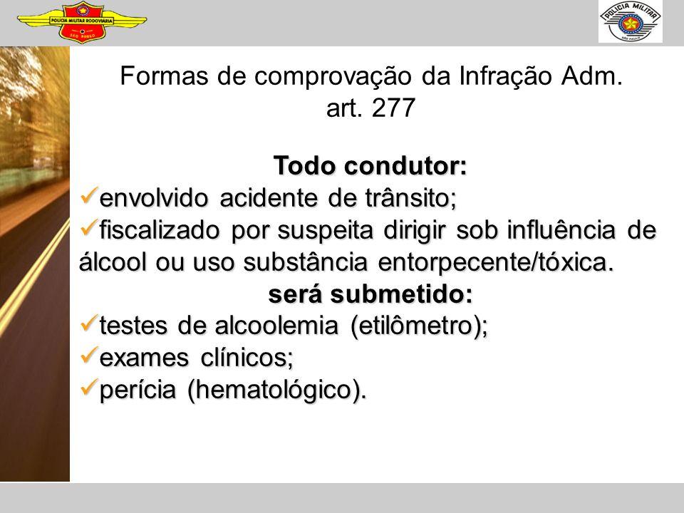 Formas de comprovação da Infração Adm. art. 277