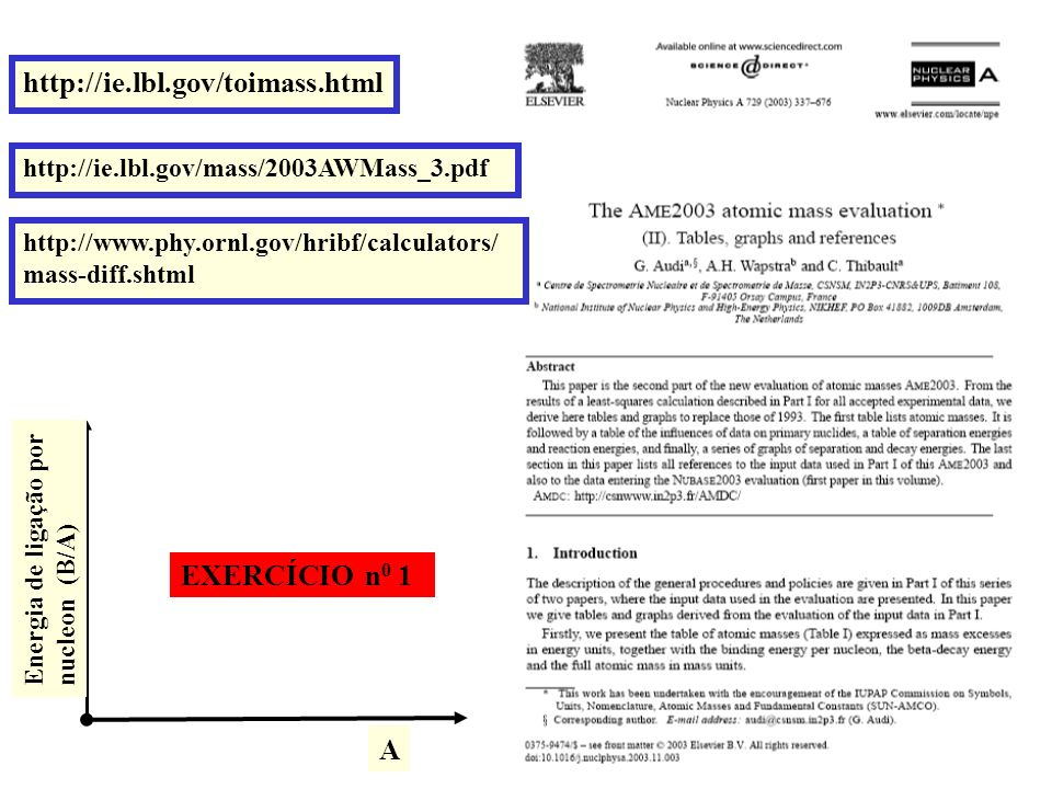 http://ie.lbl.gov/toimass.html EXERCÍCIO n0 1 A