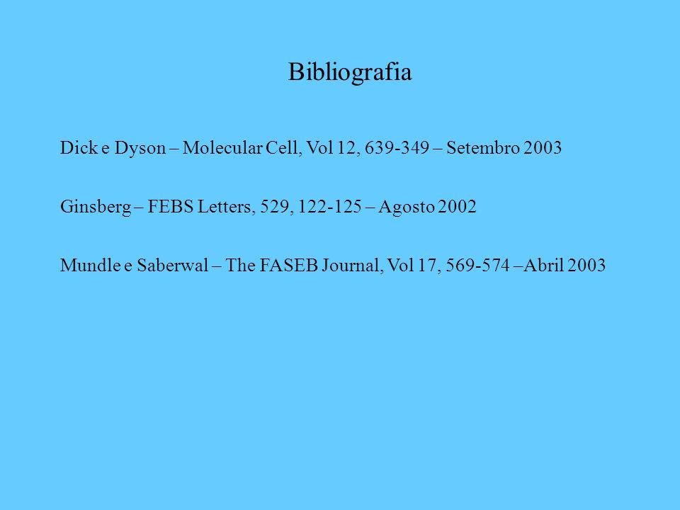 Bibliografia Dick e Dyson – Molecular Cell, Vol 12, 639-349 – Setembro 2003. Ginsberg – FEBS Letters, 529, 122-125 – Agosto 2002.