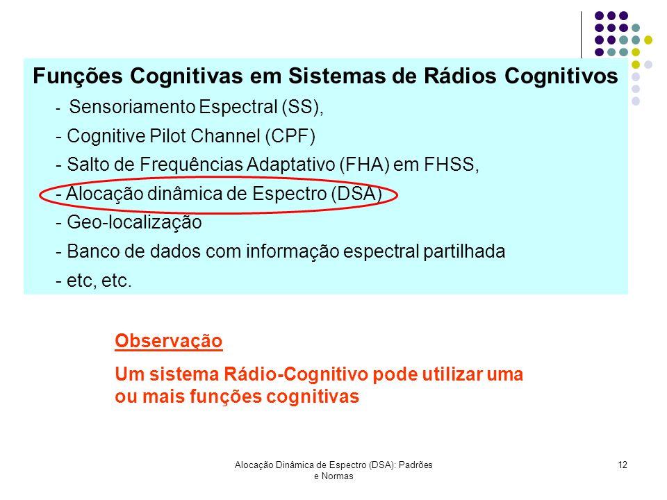 Funções Cognitivas em Sistemas de Rádios Cognitivos