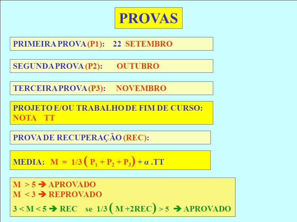 PROVAS PRIMEIRA PROVA (P1): 22 SETEMBRO SEGUNDA PROVA (P2): OUTUBRO