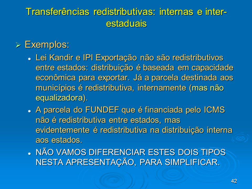 Transferências redistributivas: internas e inter-estaduais