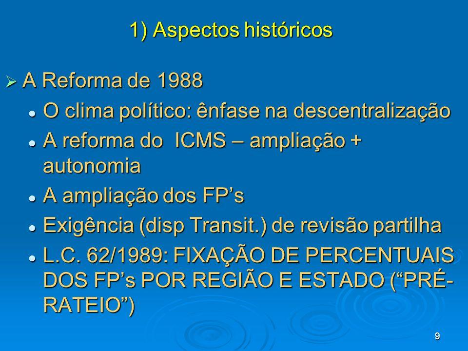 1) Aspectos históricos A Reforma de 1988. O clima político: ênfase na descentralização. A reforma do ICMS – ampliação + autonomia.