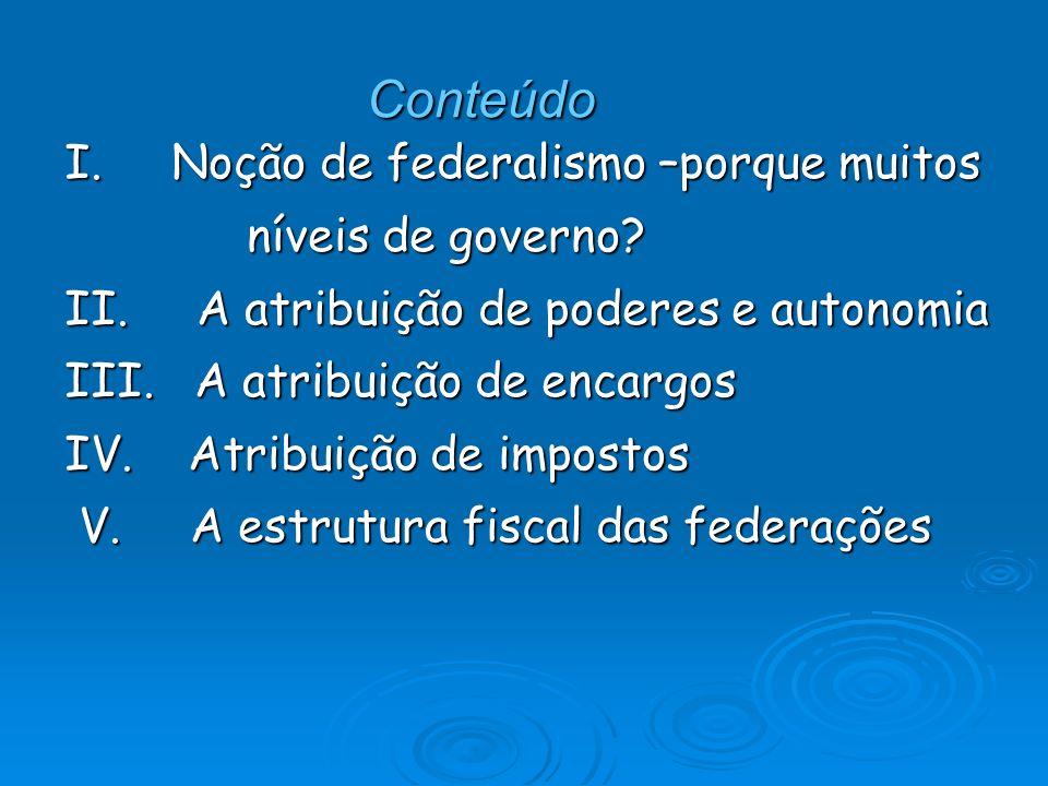 Conteúdo I. Noção de federalismo –porque muitos níveis de governo