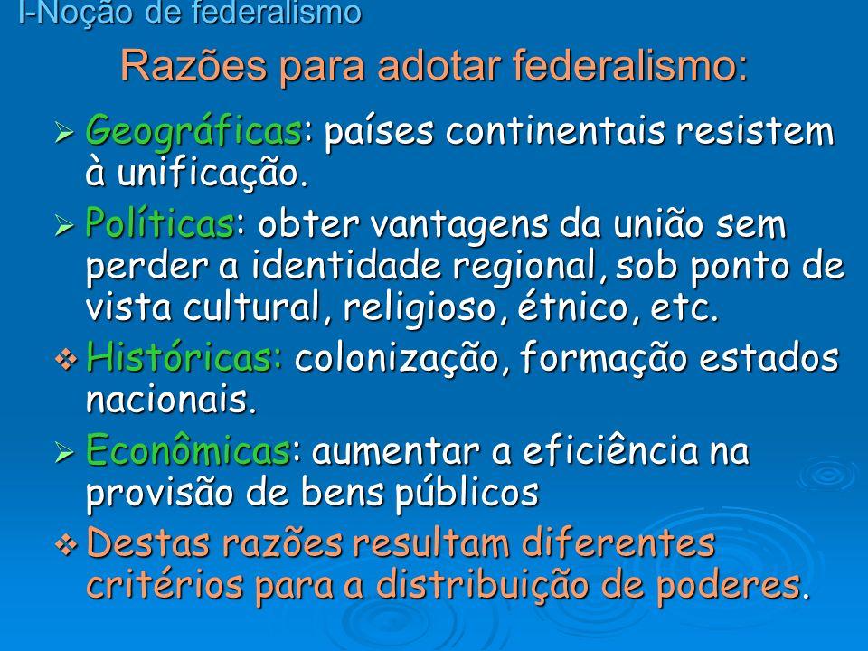 Razões para adotar federalismo: