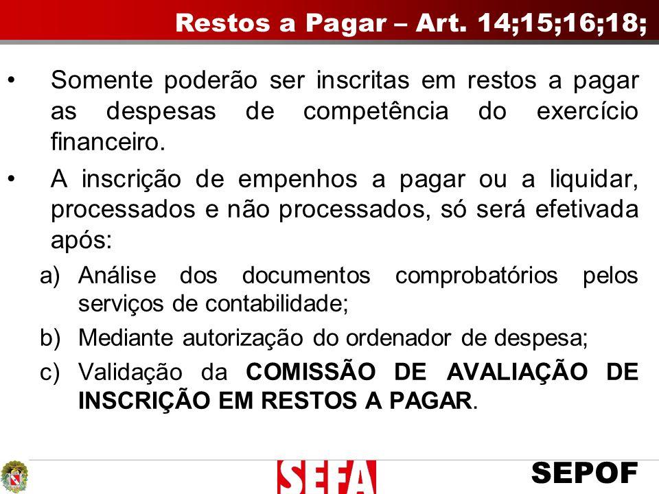 Restos a Pagar – Art. 14;15;16;18;