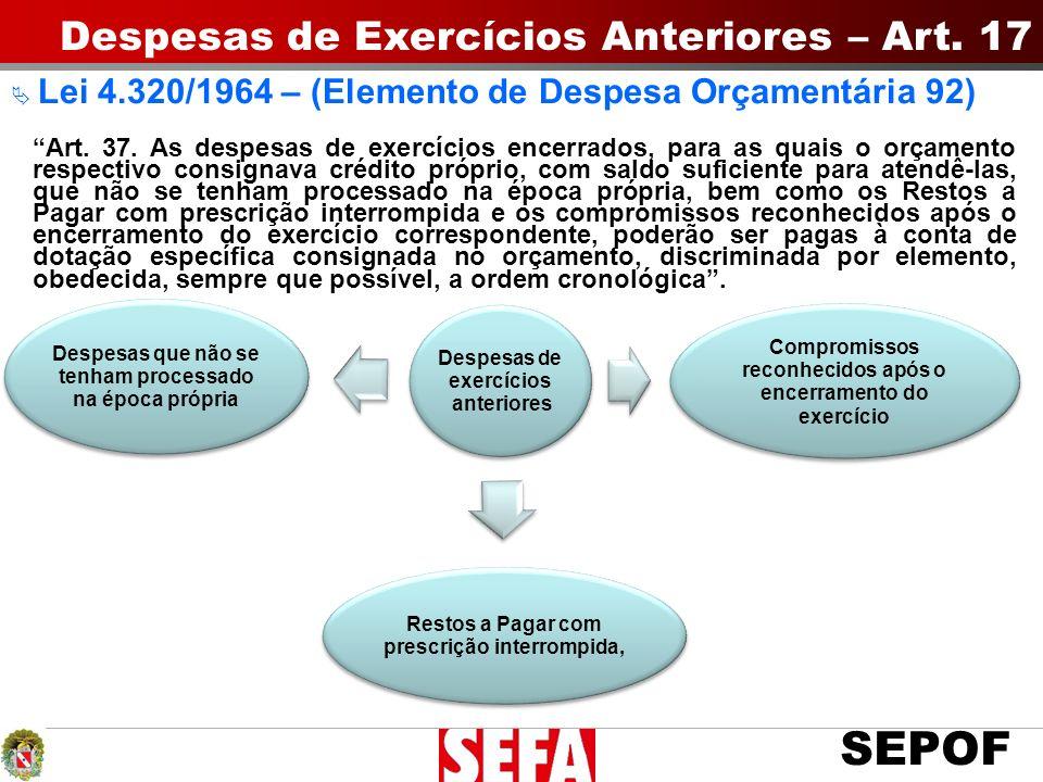 Despesas de Exercícios Anteriores – Art. 17
