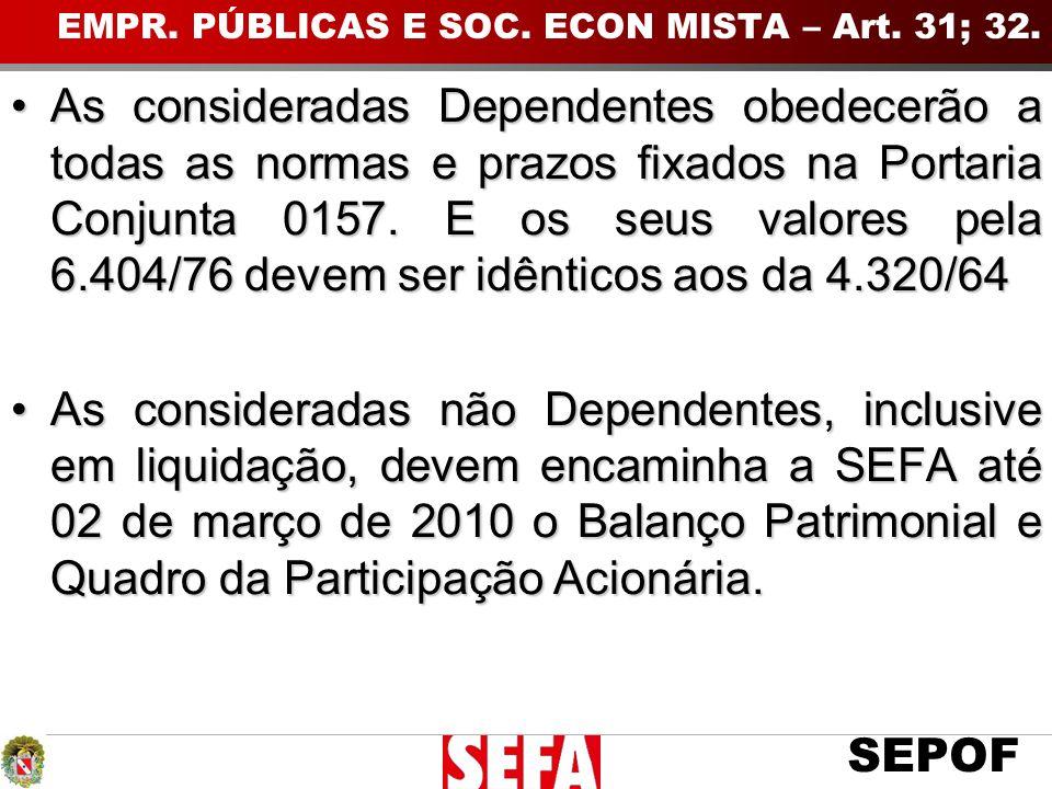 EMPR. PÚBLICAS E SOC. ECON MISTA – Art. 31; 32.