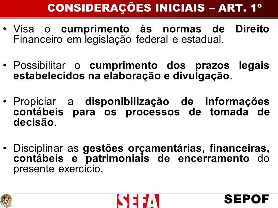 CONSIDERAÇÕES INICIAIS – ART. 1º