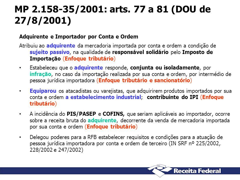 MP 2.158-35/2001: arts. 77 a 81 (DOU de 27/8/2001) Adquirente e Importador por Conta e Ordem.