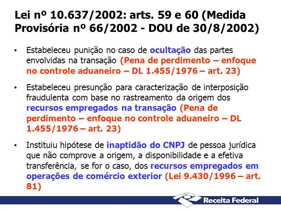 Lei nº 10.637/2002: arts. 59 e 60 (Medida Provisória nº 66/2002 - DOU de 30/8/2002)