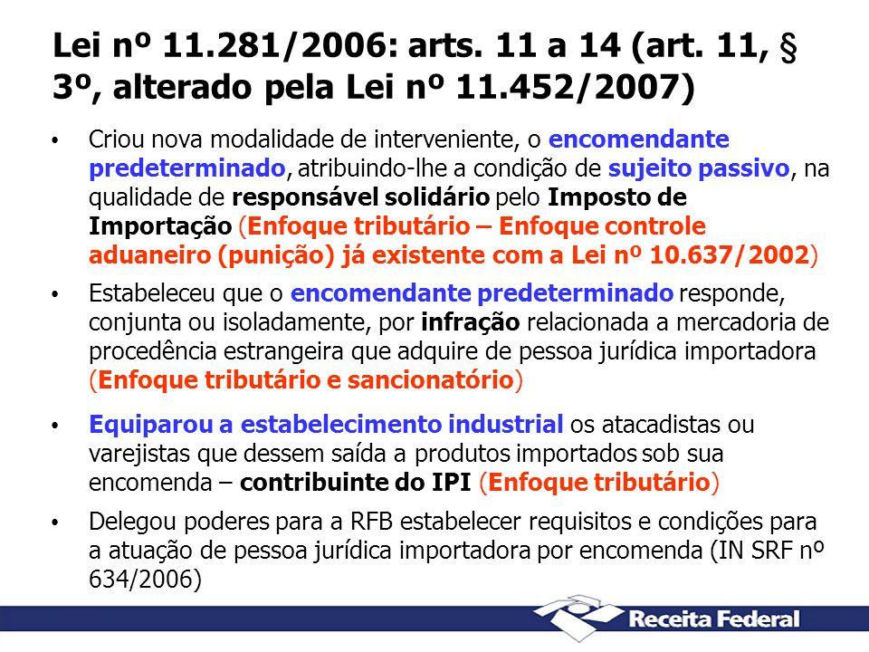 Lei nº 11.281/2006: arts. 11 a 14 (art. 11, § 3º, alterado pela Lei nº 11.452/2007)