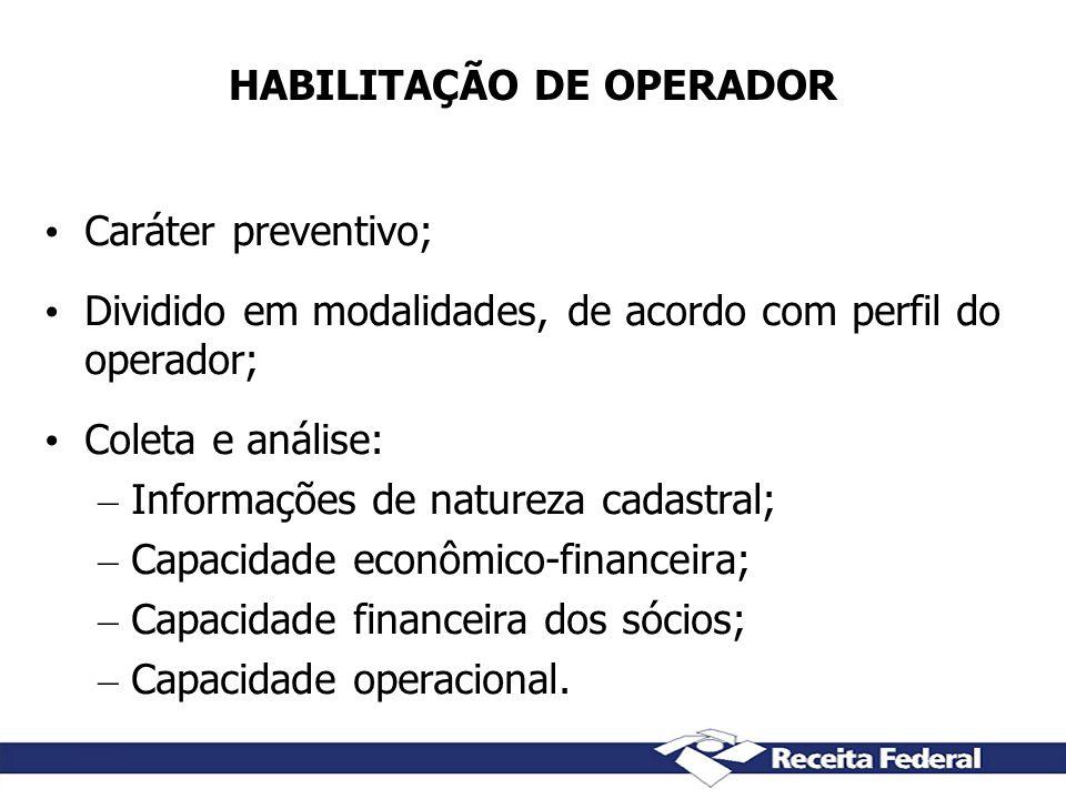 HABILITAÇÃO DE OPERADOR