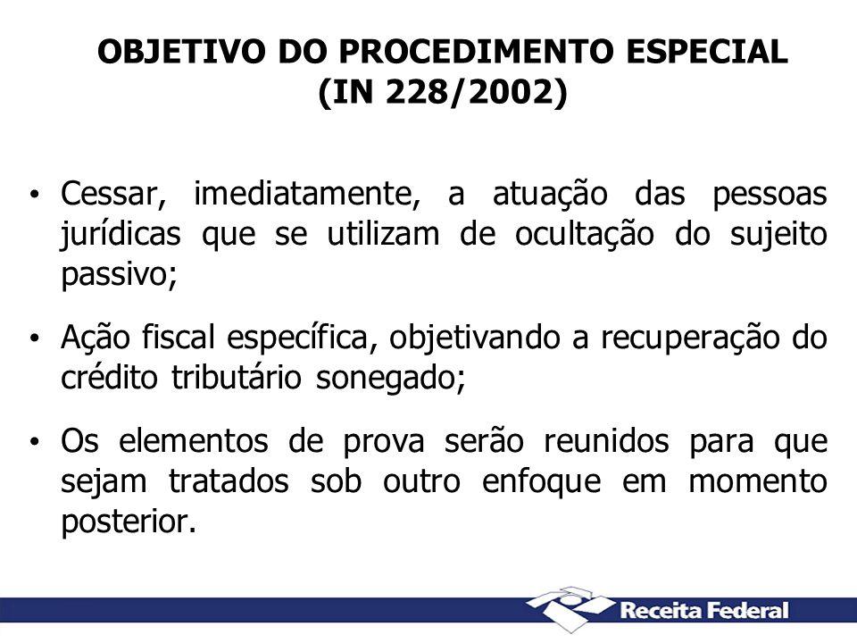 OBJETIVO DO PROCEDIMENTO ESPECIAL (IN 228/2002)