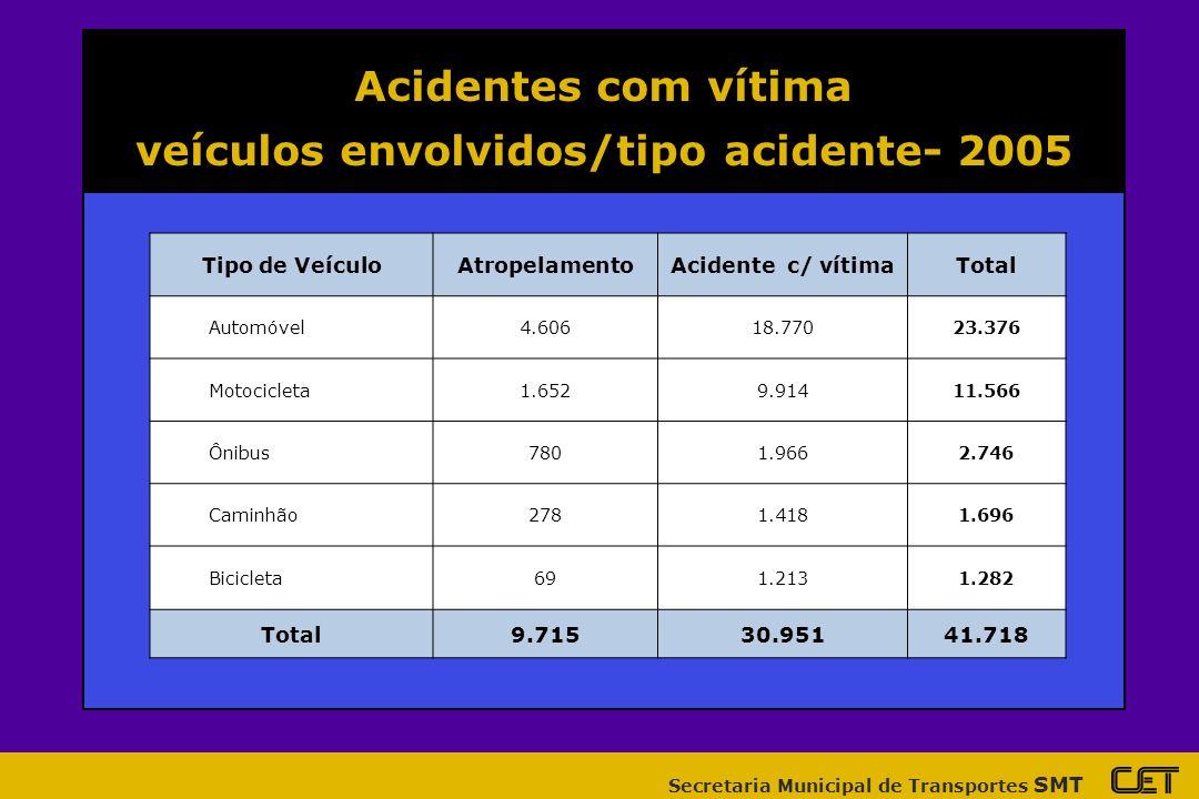 veículos envolvidos/tipo acidente- 2005
