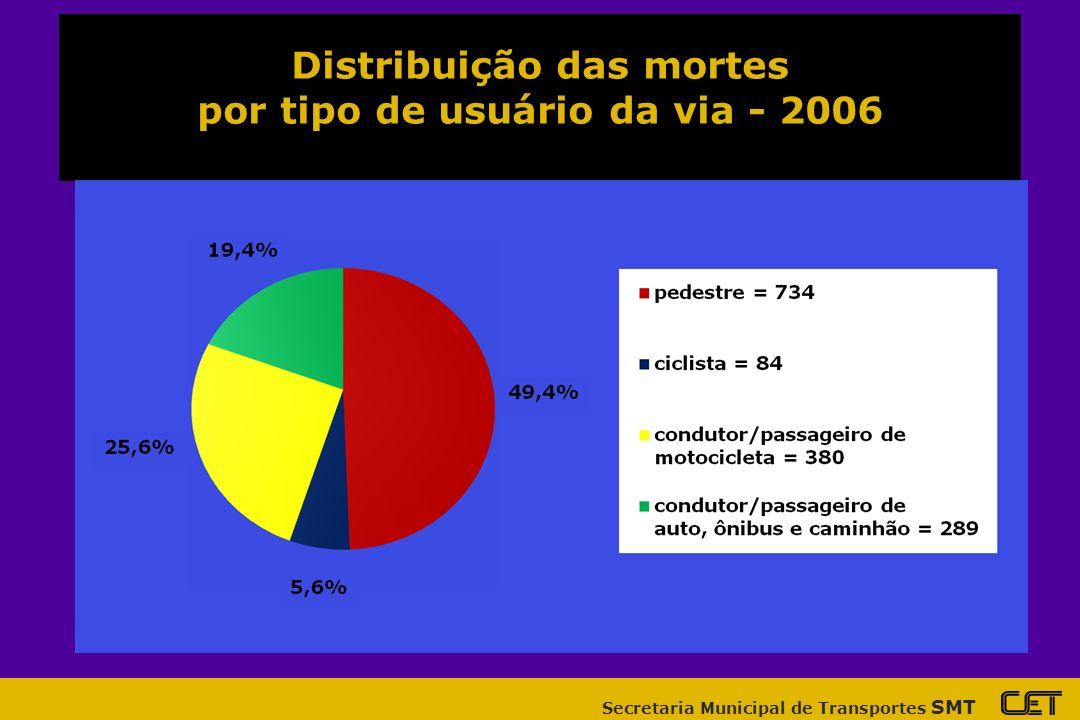 Distribuição das mortes por tipo de usuário da via - 2006