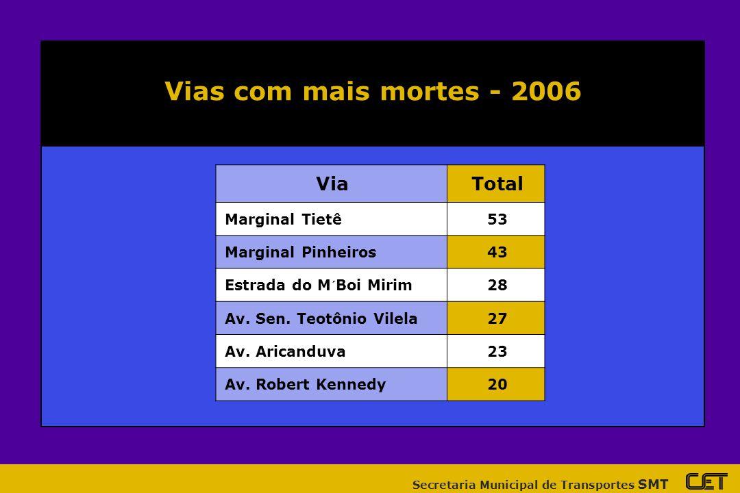 Vias com mais mortes - 2006 Via Total Marginal Tietê 53