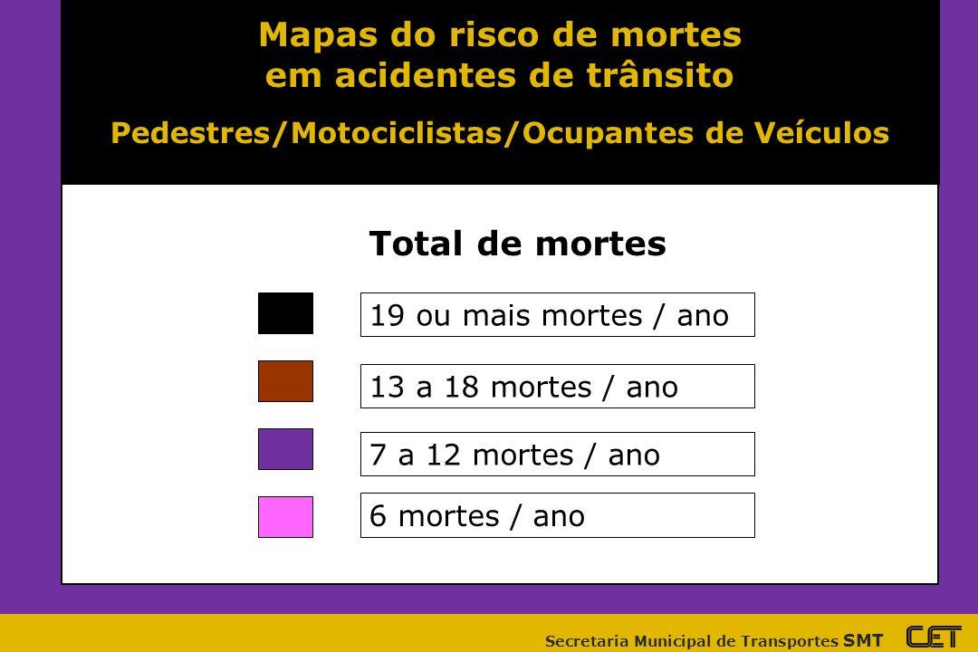 Mapas do risco de mortes em acidentes de trânsito
