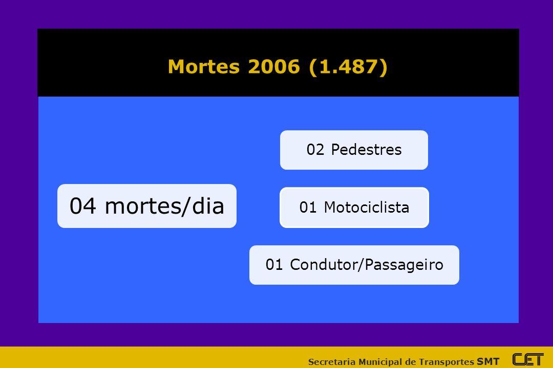 04 mortes/dia Mortes 2006 (1.487) 02 Pedestres 01 Motociclista