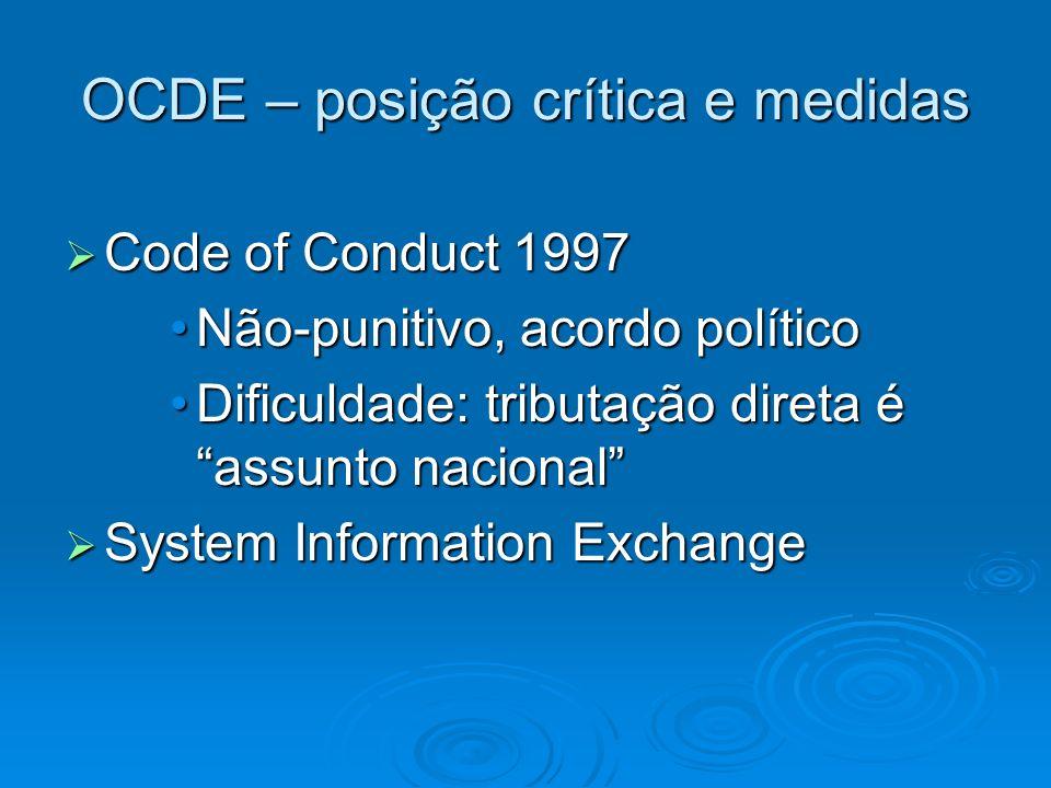 OCDE – posição crítica e medidas