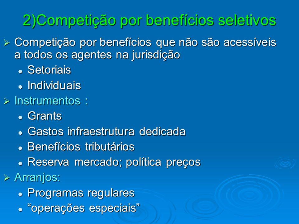2)Competição por benefícios seletivos