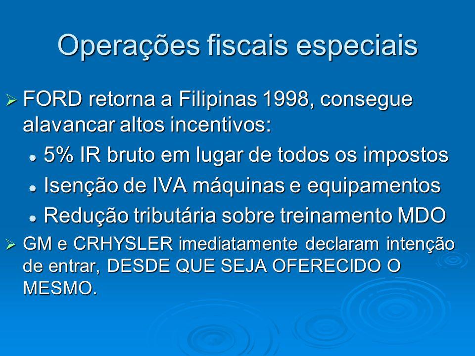 Operações fiscais especiais