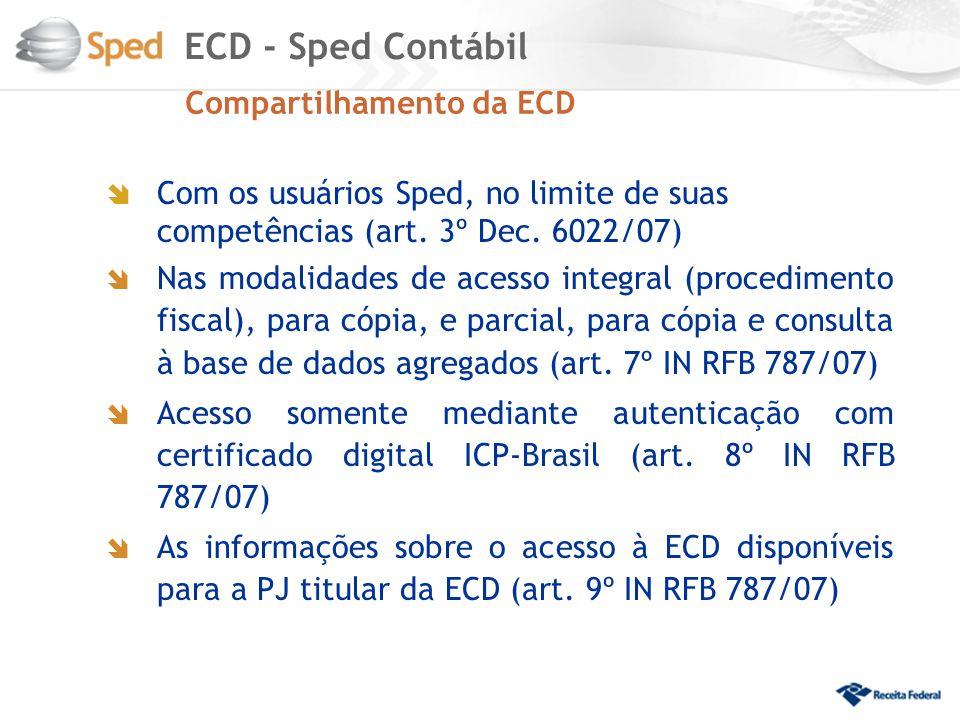 ECD - Sped Contábil Compartilhamento da ECD