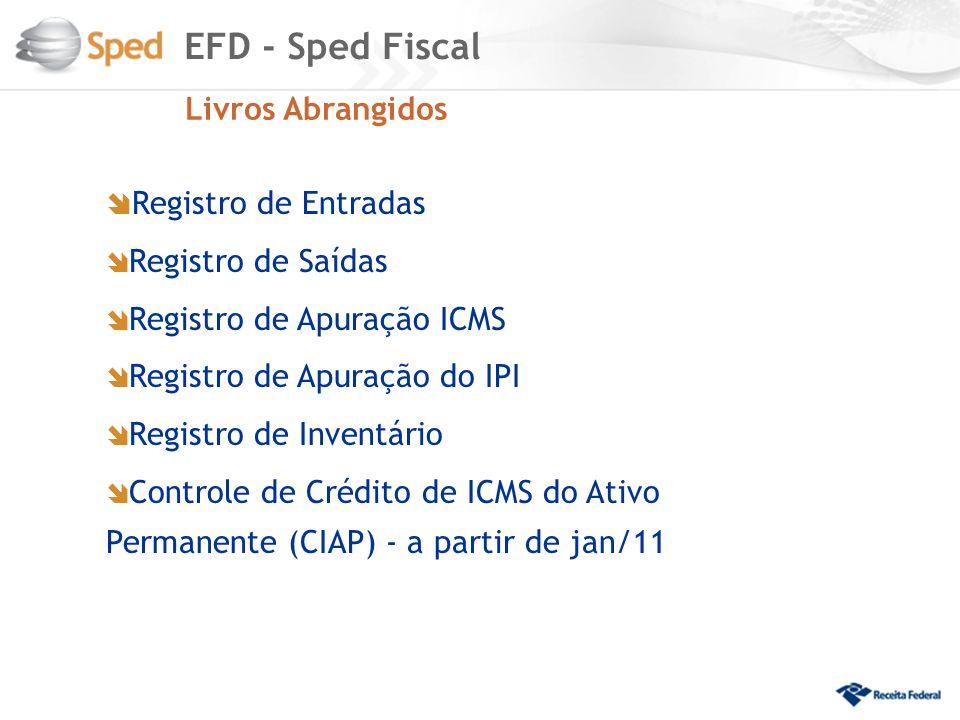 EFD - Sped Fiscal Registro de Entradas Livros Abrangidos