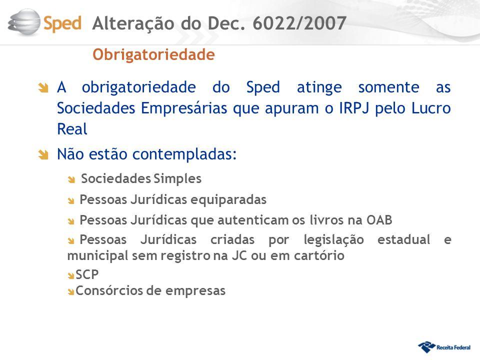 Alteração do Dec. 6022/2007 Obrigatoriedade