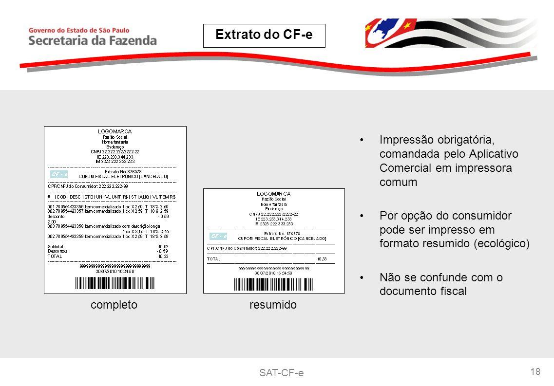 Extrato do CF-e Impressão obrigatória, comandada pelo Aplicativo Comercial em impressora comum.