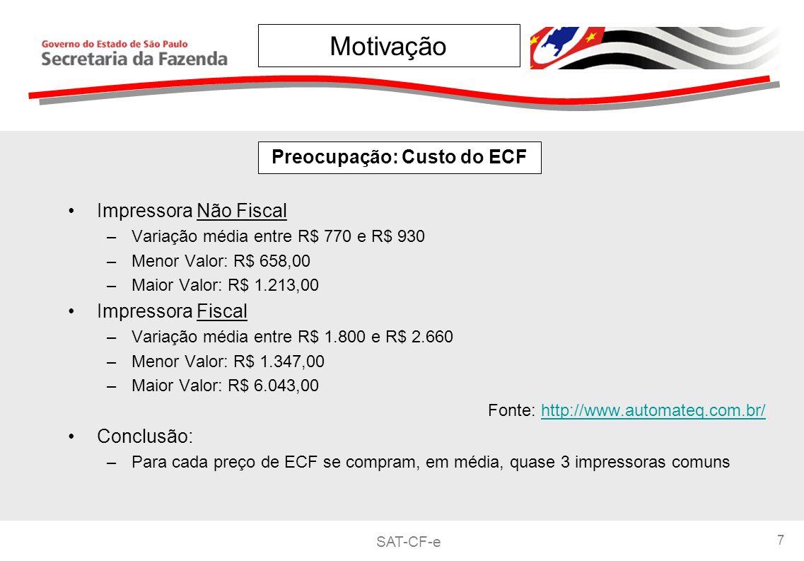 Preocupação: Custo do ECF