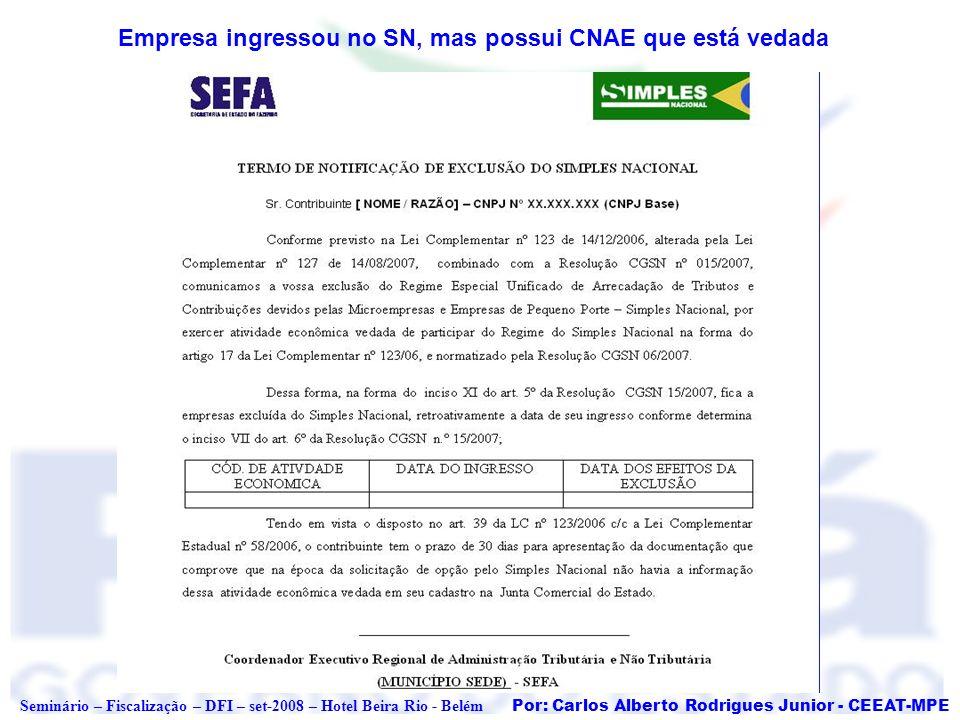 Empresa ingressou no SN, mas possui CNAE que está vedada