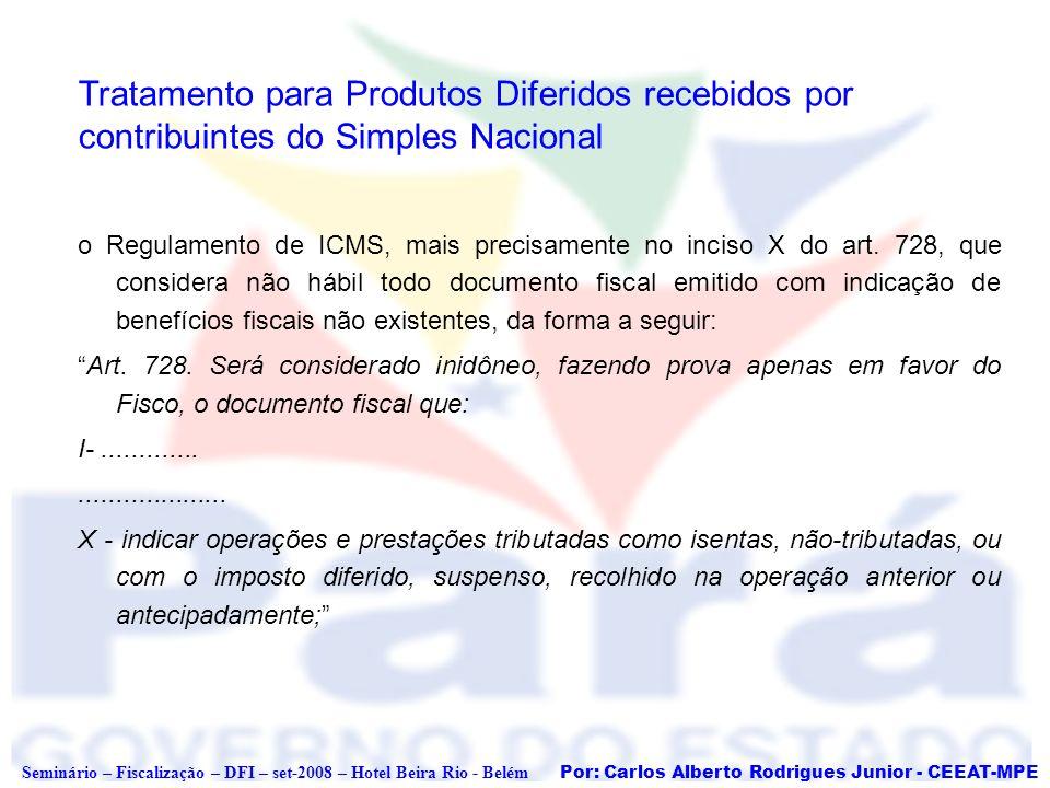 Tratamento para Produtos Diferidos recebidos por contribuintes do Simples Nacional