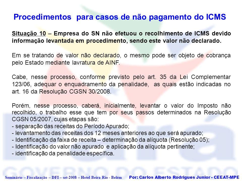 Procedimentos para casos de não pagamento do ICMS