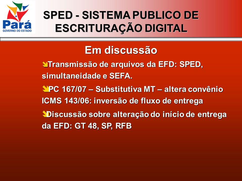 Em discussão Transmissão de arquivos da EFD: SPED, simultaneidade e SEFA.