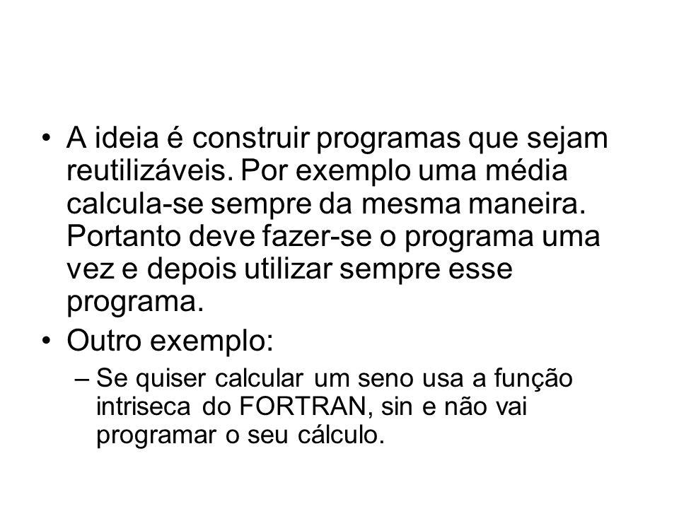 A ideia é construir programas que sejam reutilizáveis