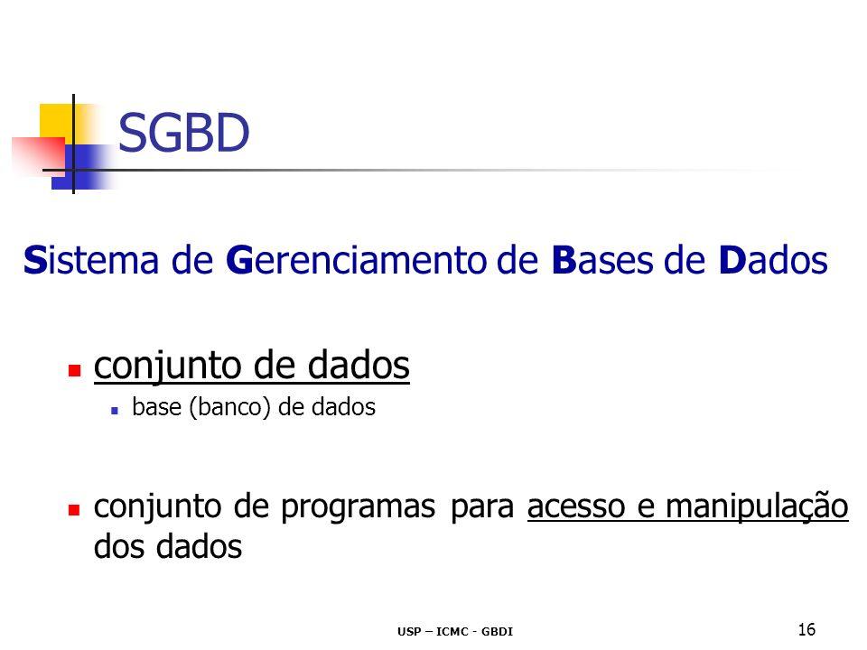 SGBD Sistema de Gerenciamento de Bases de Dados conjunto de dados