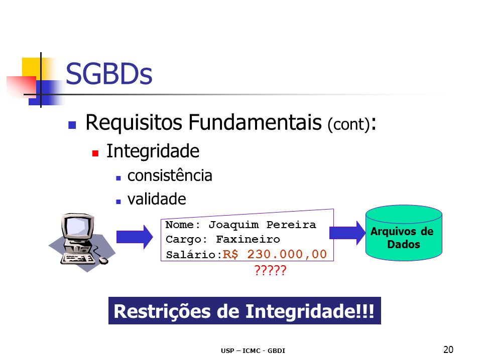 SGBDs Requisitos Fundamentais (cont): Integridade