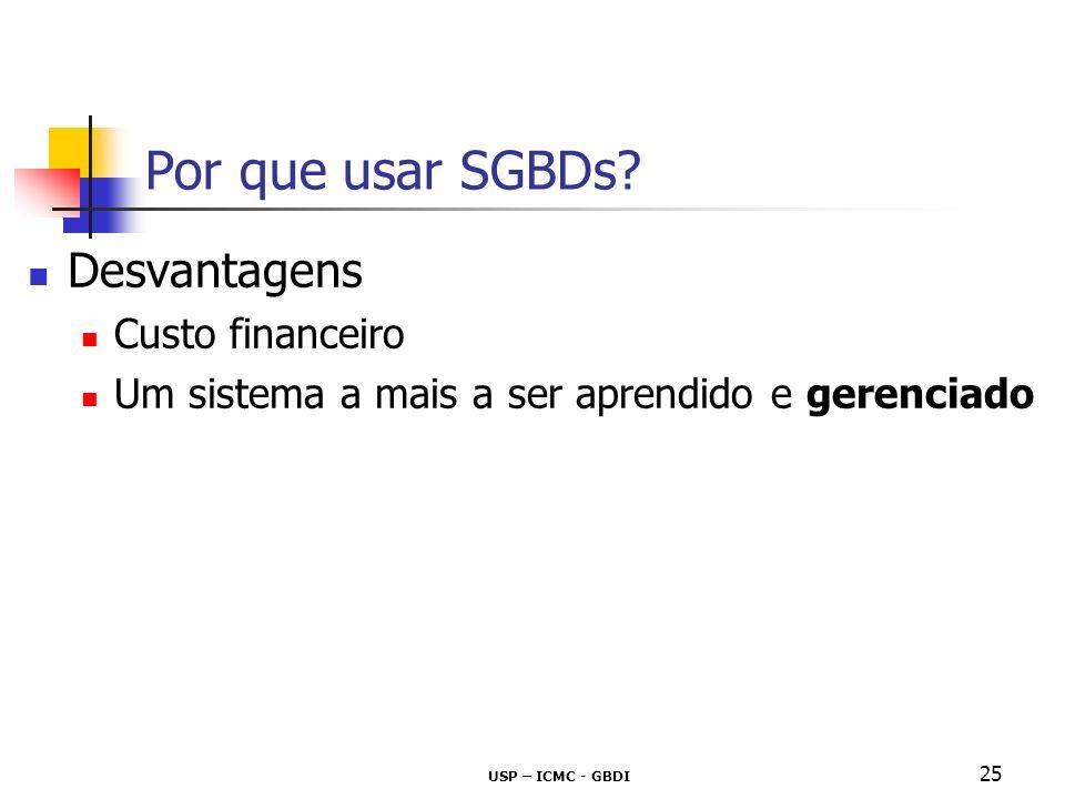 Por que usar SGBDs Desvantagens Custo financeiro
