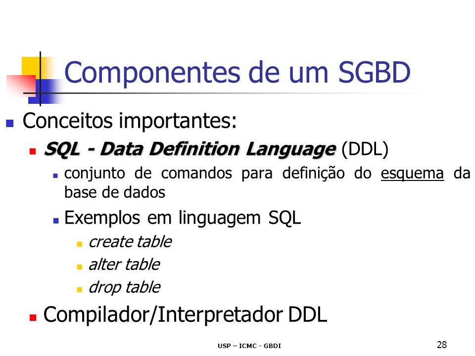 Componentes de um SGBD Conceitos importantes: