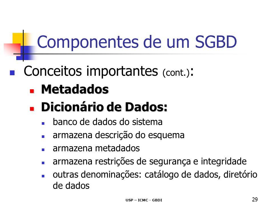 Componentes de um SGBD Conceitos importantes (cont.): Metadados