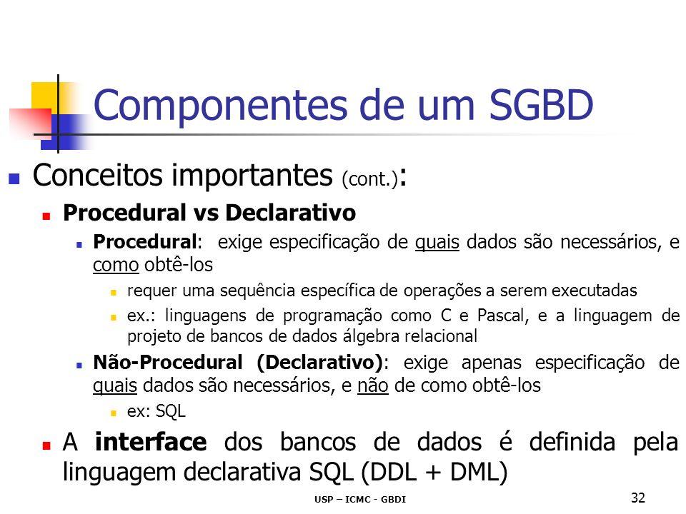 Componentes de um SGBD Conceitos importantes (cont.):